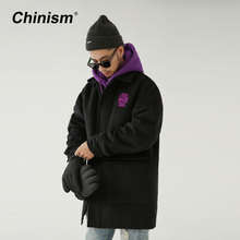 CHINISM 2017 New Purple Letter Embroidery Mens Parkas Coats Black Big Pocket Loose Turn Down Collar Long Jackets Thick Trench