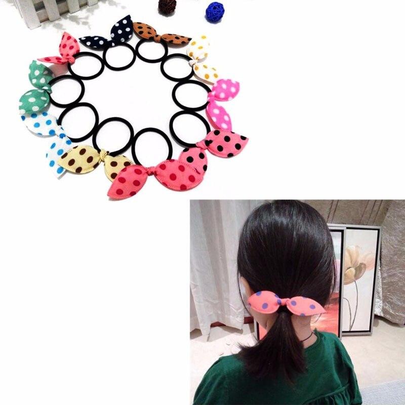 10Pcs Cute Girls Rabbit Bunny Ear Dot Women s Elastic Hair Scrunchie Hair Ropes