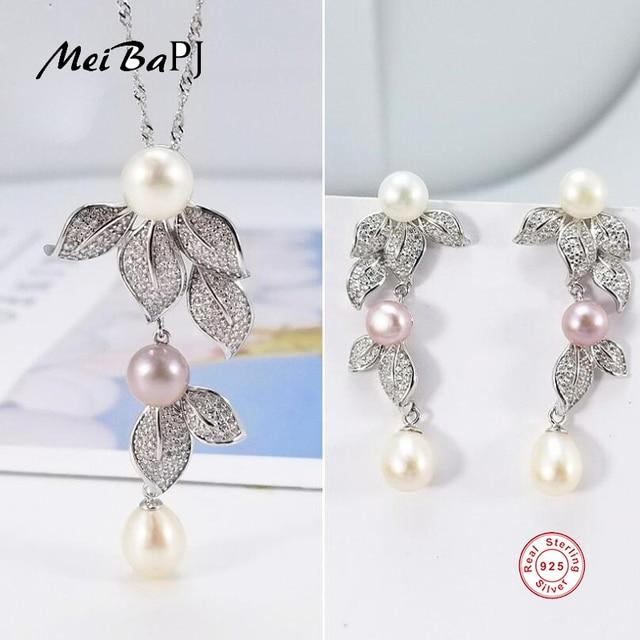 [MeiBaPJ] 성격 패션 자연 진주 꽃 세트 S925 실버 귀걸이 & 목걸이 여성을위한 훌륭한 보석 세트