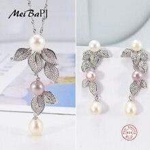 [MeiBaPJ] osobowość moda naturalny kwiat perłowy zestaw S925 srebrne kolczyki i naszyjnik zestawy biżuterii dla kobiet