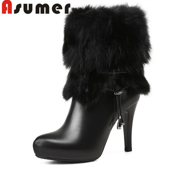 ASUMER 2020 fashion winter ankle boots comfortable solid pointed toe high heels boots women's fashion genuine leather boots