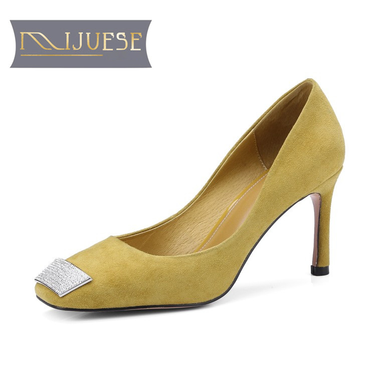 MLJUESE 2019 women pumps autumn spring Kid Suede yellow color slip on square toe crystal high heels lady shoes party weddingMLJUESE 2019 women pumps autumn spring Kid Suede yellow color slip on square toe crystal high heels lady shoes party wedding