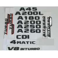 3D Matt Black Trunk Letters Badge Emblem Emblems Badges Sticker for Mercedes Benz W176 A45 A200 A250 A180 V8 BITURBO 4MATIC AMG
