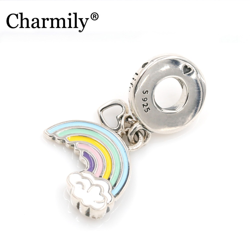 Charmily Authentic 925 Sterling Silver RAINBOW OF LOVE HANGING CHARM pendant Fits for European Bracelets Bangles