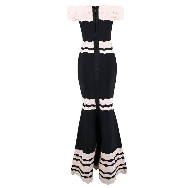 Luxe Évider Jacquard Robes Épaule Haute De Célébrité Bandage Partie Qualité Long Robe Off Mode Élégant Spectacle zxqBn8
