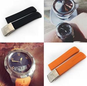 Image 3 - Rubber Watchband for Tissot Watch Strap Sports T Touch T013420A T047 T33 Bracelet Man Silicone Bracelet 20mm 21mm Orange Black