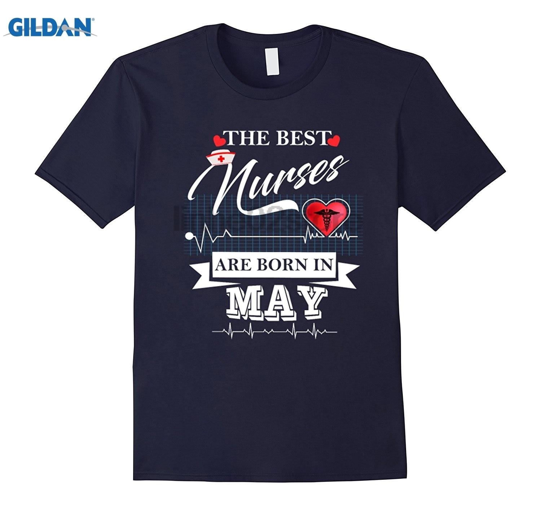 GILDAN The Best Nurses Are Born In May T-Shirts- Nurse T-Shirt summer dress T-shirt Womens T-shirt