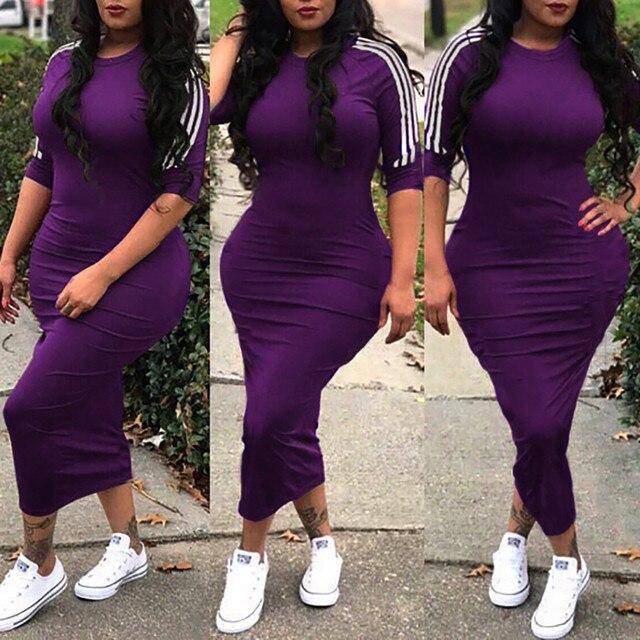 S-XXXL 2019 Women Sexy Solid Sheath Club Lady Mid-Calf Dress O-Neck Half Sleeve Party Hot Lady Woman Bodycon Dresses Vestidos
