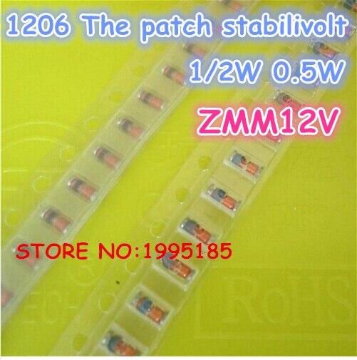 100Pcs/Lot ZMM12V LL-34 1/2W 1206 SMD 0.5W SILICON PLANAR Zener Diodes