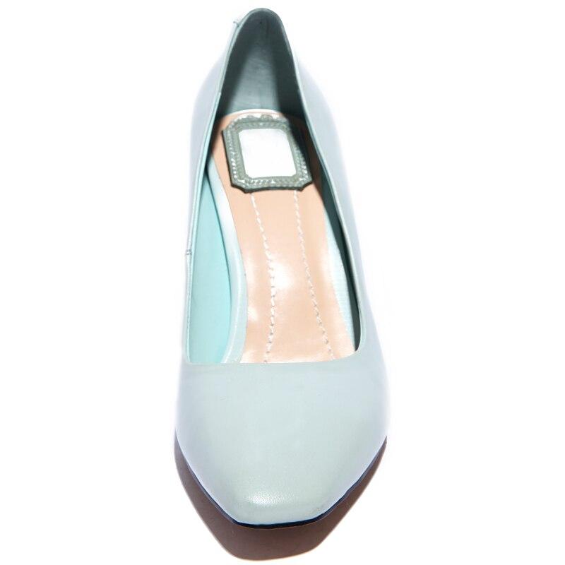 ФОТО 2016 new fashion PU leather square toe pointed with big horseshoe high heels closed toe pumps women elegant pink designer shoes