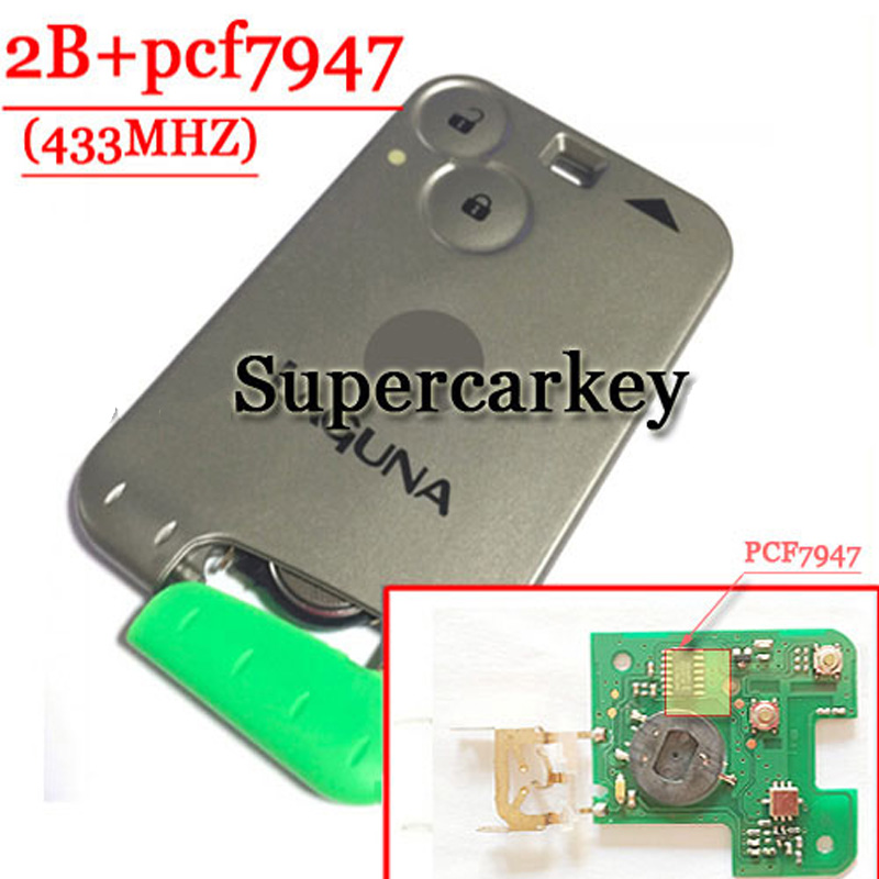 Free shipping 2 Button Smart Card PCF7947 Chip 433MHZ For Renault Laguna( With Logo With Words) (1piece)