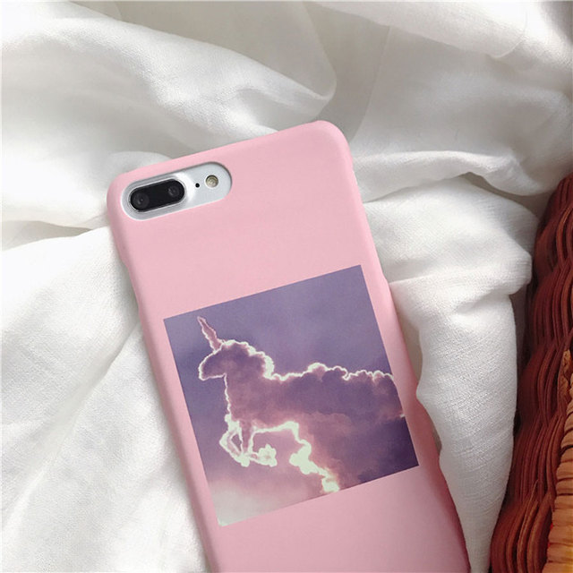 c02f1154fe ZMDLDZSW Pretty Pastel Grunge Pink Purple Unicorn Clouds Cute Girl Hard PC Back  Cover For iPhone 6 6s plus 7 plus 8 8plus Case