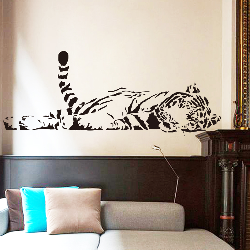 New design home decoration lying tiger art wall sticker - Cheap wall decals for living room ...