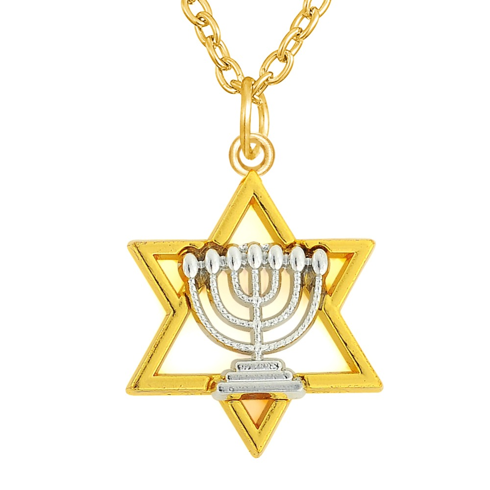 Dawapara two tones rhodium and gold color menorah and star for Star of david necklace mens jewelry