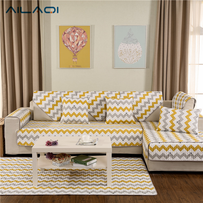 AILAQI Modern Stripe Non-slip Sofa Couch Covers Creative Cute Cotton Sofa  Cover For Living Room