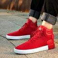 Frete Grátis 2017 dos homens Novos High Top Sapatos Casuais Sapatos de Camurça Preta vermelho cinza Lace Up Flats Zapatos Hombre Sapatos Da Moda Hip Hop