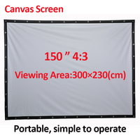 PHIKER Factory Sales 150 Inch 4 3 Projector HD Screen Portable Folded Front Projection Screen Fabric