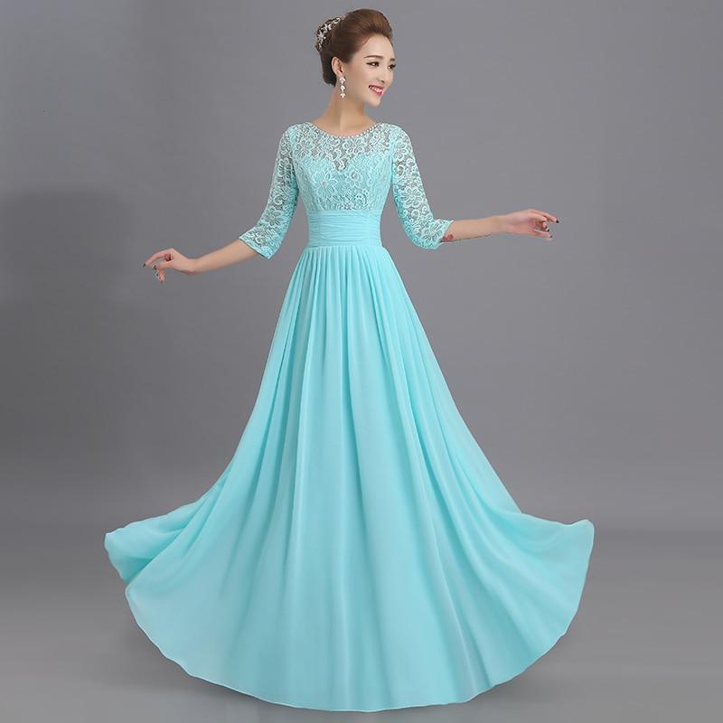 La estrella de mar wedding guest   dress   cheap 2019 new Scoop lace chiffon 3/4 sleeves Floor-Length light blue   bridesmaid     dress