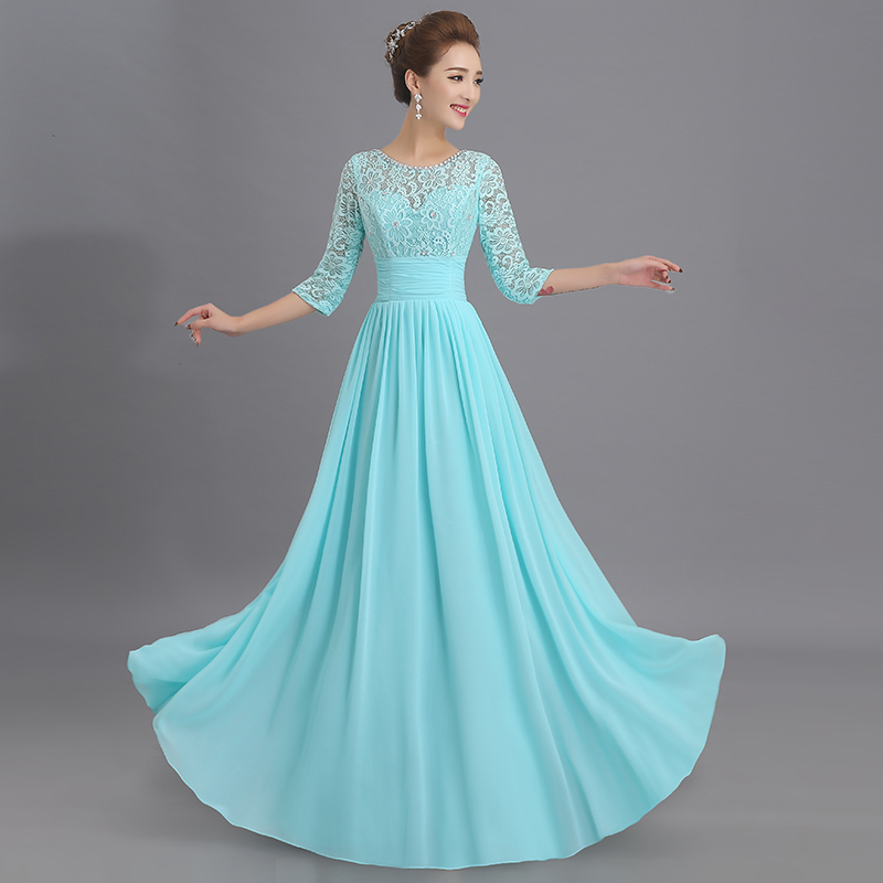 Us 48 0 20 Off Sukienka Druhna New Scoop Neck Lace Chiffon 3 4 Sleeve Backless A Line Turquoise Bridesmaid Dress Floor Length Vestiti Damigelle In