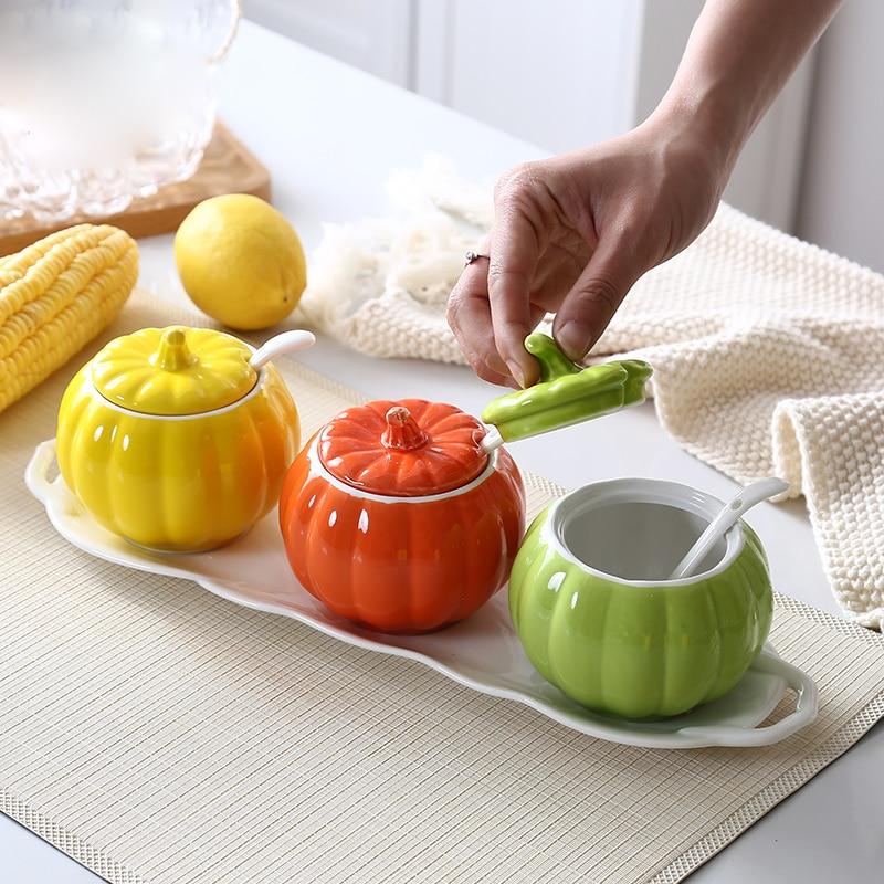 Pumpkin Design Ceramic Sugar Bowl Home Kitchen Bamboo Mat Salt Condiment Pot Jars With Spoons Plate-in Sugar & Creamer Pots from Home & Garden    1