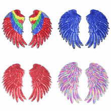 1pair Feather Sequins Patch DIY Angel Wing Patches For Kids Clothes Sew-On Embroidered Applique Sticker Cloth