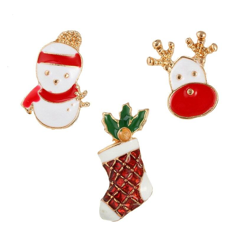 DoreenBeads Christmas Gift Snowman Elk Socks Badges Enamel Pin Brooch for Kids Women T Shirt Collar Sweater Coat Scarf Hat Decor