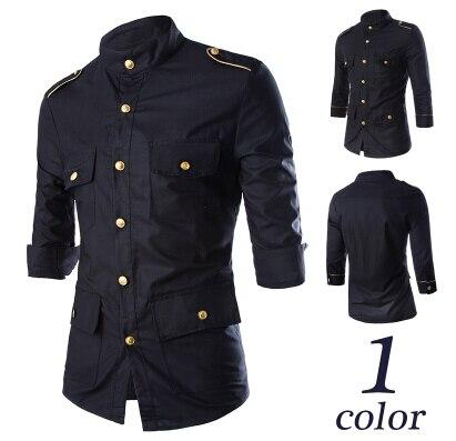2016 весна мужская бутик досуг чистого хлопка военная форма стиль Три Четверти рубашка/мужская нагрудные slim fit досуг рубашка