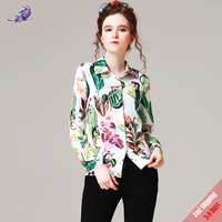 New Autumn Runway Fashion Blouse Women S Long Sleeve High Quality Animal Flower Printed Casual Lady