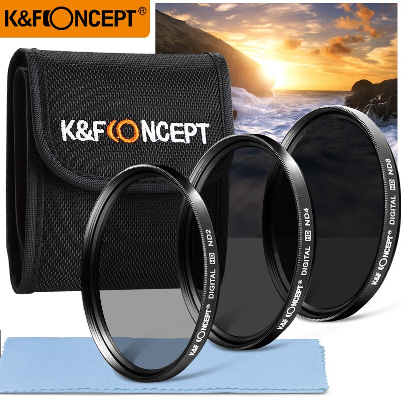 K & F CONCEPT Neutral Density Lens Filter Kit 52/55/58/62/67/72 / 77mm ND2 + ND4 + ND8 + Väska + Rengörduk för Nikon Canon Sony Sigma DSLR