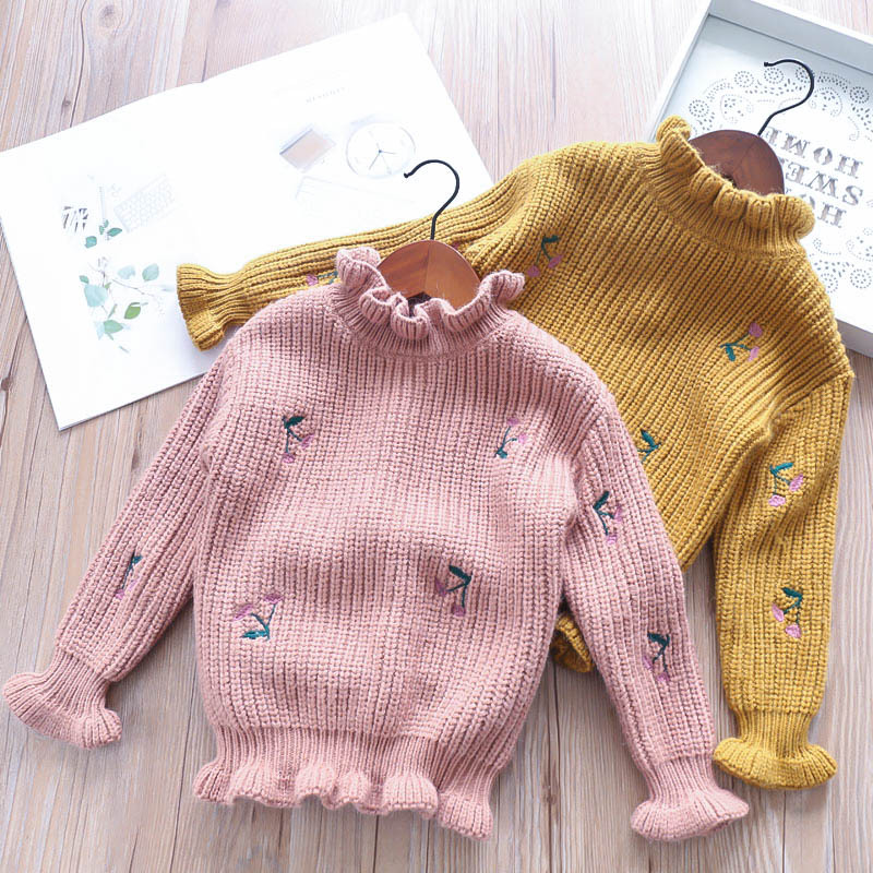 Girls Baby Embroidery Floral Crochet Knitted Sweaters Princess Pink