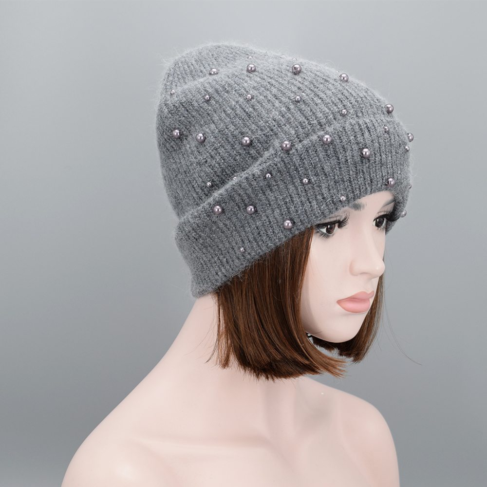 New Design Women Winter pearls Beanies high quality Wool Rabbit hair warm  Soft knit Hat Ladies Girls Gorros Caps -in Skullies   Beanies from Apparel  ... 02d0a6ef7ca4
