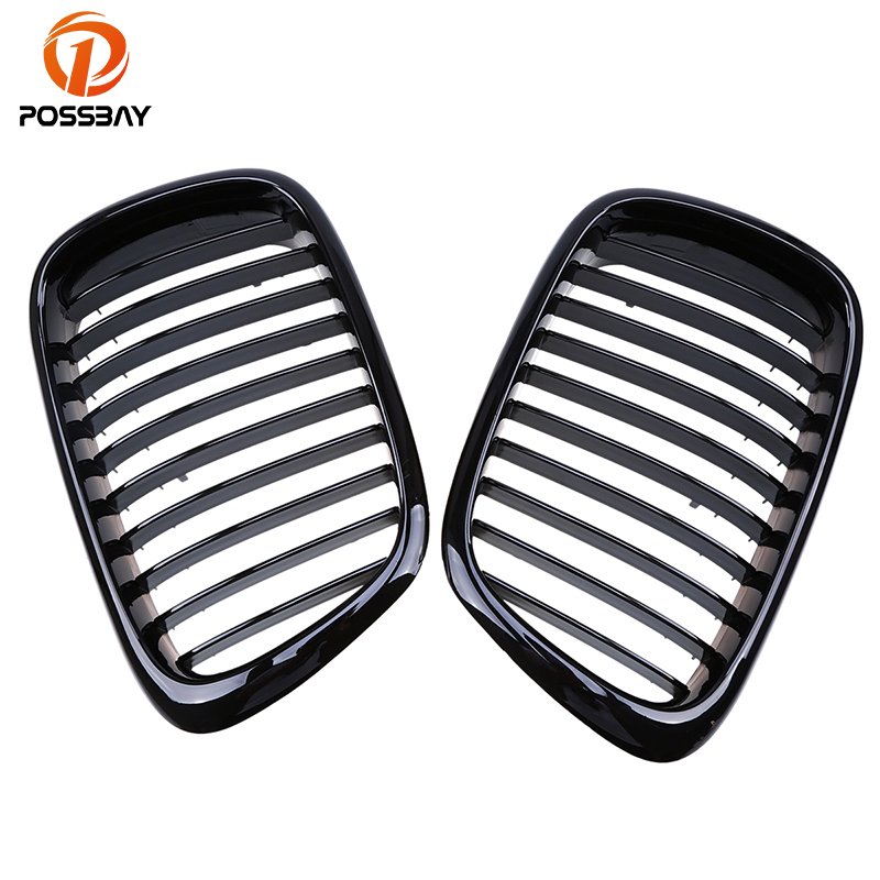 POSSBAY Car Accessories Front Gloss Black Paint Kidney Grille Grills for BMW E39 5-Series 520d/520i/523i/525d/525i M5 1997-2003 3d abs car styling power m performance 520d 525d 528d 530d 535d 550d car rear sticker for bmw 3 series 5 series 7 series