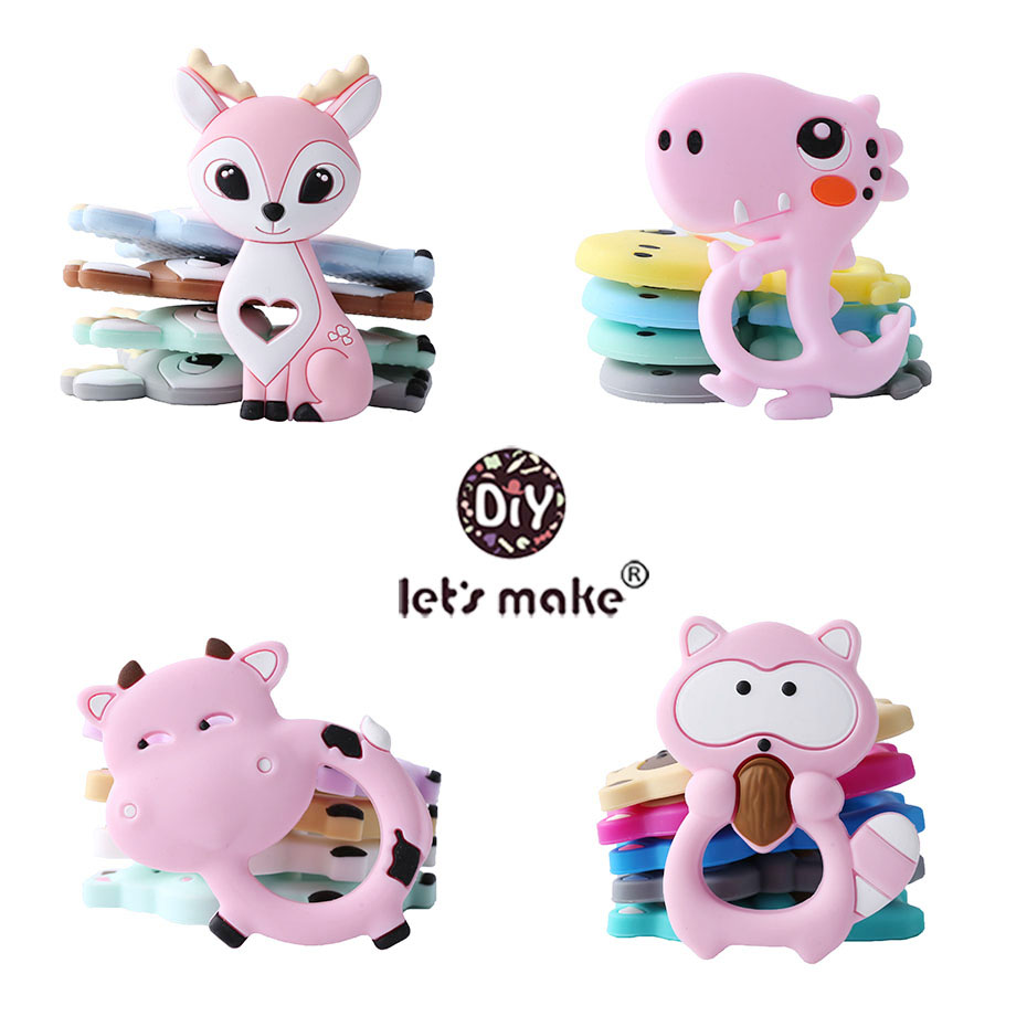 Let's Make Baby Teether 1pc Cartoon Heart Unicorn Fox Pendant Silicone Teether Animal DIY Pacifier Chain Necklace Teething Toys