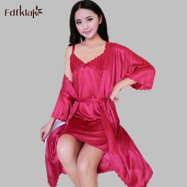 Fdfklak 2017 Sexy Women Robe Gown Set Summer New Faux Silk Robe Sleepwear Home Suit Night Sleep two Pieces Bathrobe Set E0810