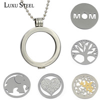 Stainless Steel Round Floating Locket with Free Chain With Free 5pcs Different Coins 37mm Charm Pendant Necklace