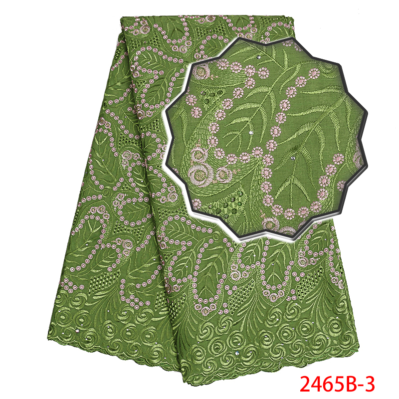 2019 Latest Swiss Voile High Quality Cotton Lace Fabric With Stone Swiss Voile Lace In Switzerland For Women Hollow KS2465B-3