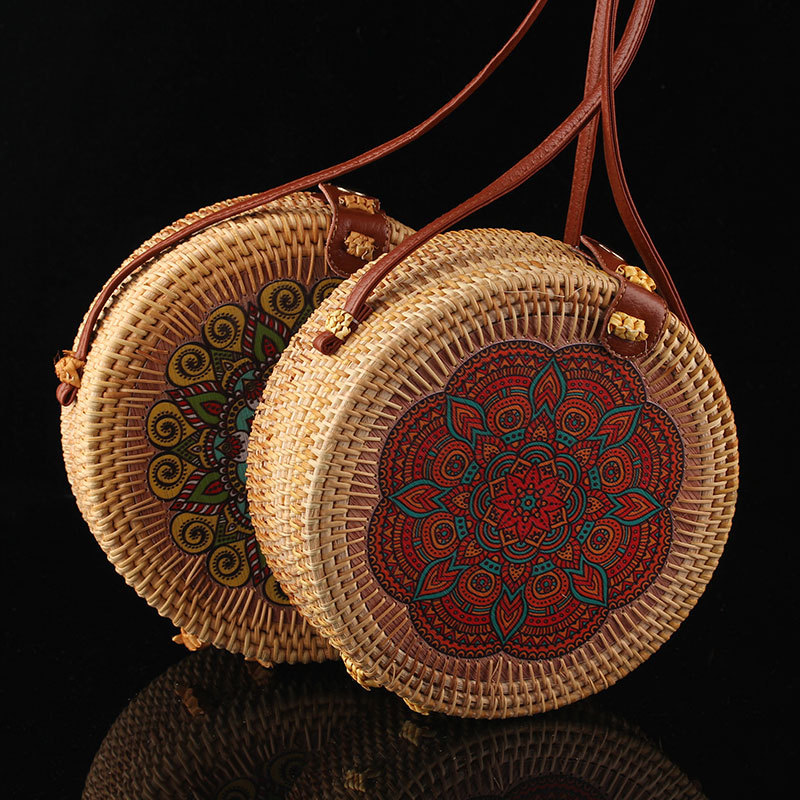 2019 Women Vintage Beach Straw Bag Ladies Hand Bags Woven Rattan Messenger Handbag Summer Bali Bohemian Crossbody Shoulder Bag