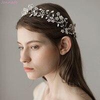 Jonnafe Pretty Opal Crystal Flower Wedding Tiara Headband Silver Color Bridal Hair Vine Accessories Women Headpiece