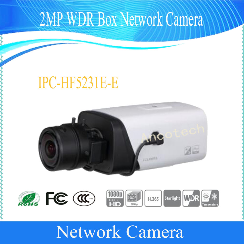 Free Shipping Dahua Security CCTV IP Camera 2MP WDR Box Network Surveillance Camera With POE DH IPC HF5231E E