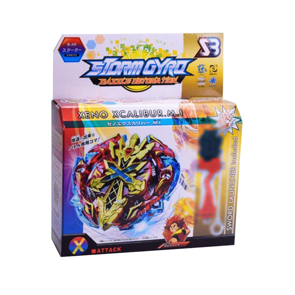 Купить с кэшбэком Bayblade Spinning Top  Burst B34 B35 B41 B48 B66 B59  Starter Zeno Excalibur .M.I (Xeno Xcalibur .M.I) with launcher kids toys
