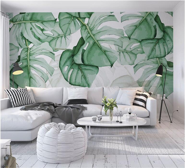 Custom Mural Wallpaper Hand Painted Tortoise Shell Back Tropical Plant Photo Wall Murals