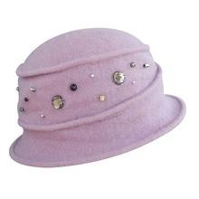 1dbea8fc448e6 Women Winter Hats 1920s Style Rhinestone Wool Cap Women Fedoras Crochet  Bucket Church Hats For Ladies