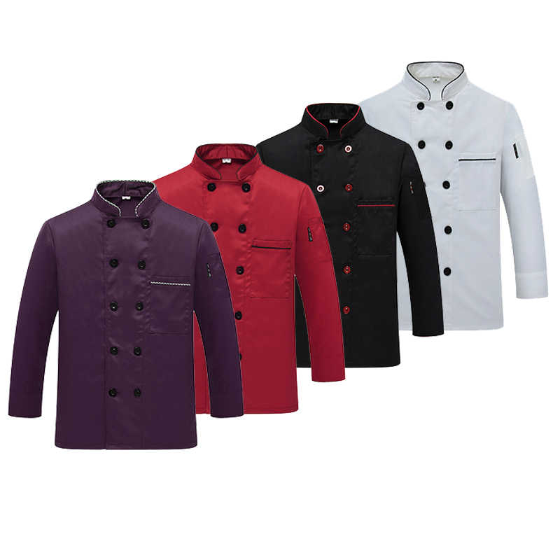 Western Hotel Chef Jas Food Service Lange Mouwen Restauant Chef Uniform Double Breasted Chef Kleding Keuken Cook Dragen 89