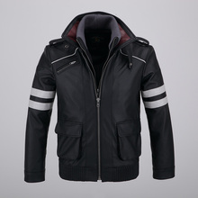Cool Mens Detachable Double layer Collar Game Prototype Alex Mercer Short Jackets Outwear with Embroidery Pattern