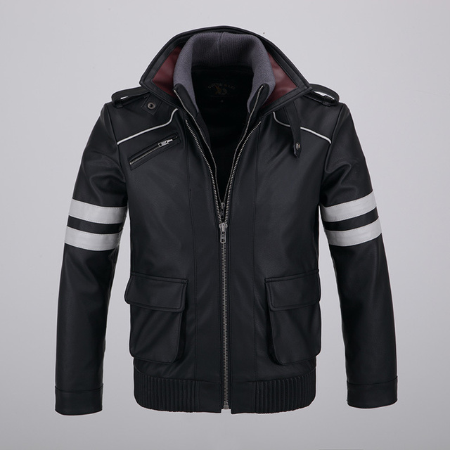 Cool Mens Detachable Double-layer Collar Game Prototype Alex Mercer Short Jackets Outwear with Embroidery Pattern High Quality