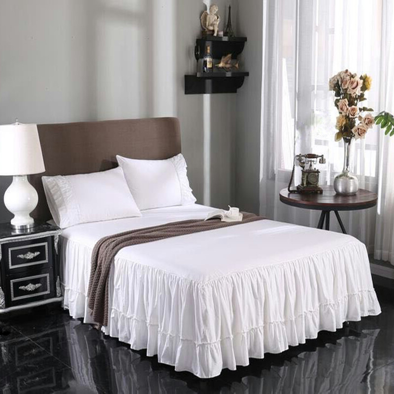 Free shipping 100%cotton white Korean bed <font><b>skirt</b></font> Hotel <font><b>twill</b></font> bed apron ruffles beauty bedspread twin full queen king size SN image