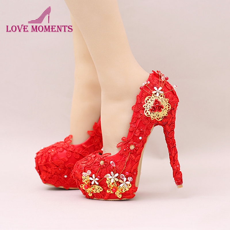 Fashion Red Lace Super High heels Bride Shoes Butterfly Flower Wedding Dress Shoes Round Toe Platform Party Prom PumpsFashion Red Lace Super High heels Bride Shoes Butterfly Flower Wedding Dress Shoes Round Toe Platform Party Prom Pumps