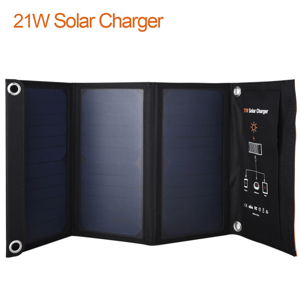 New 21W Solar Panels Charger Portable Folding Waterproof Solar Panel Battery Charger Power Bank for Phone Battery Dual USB Port