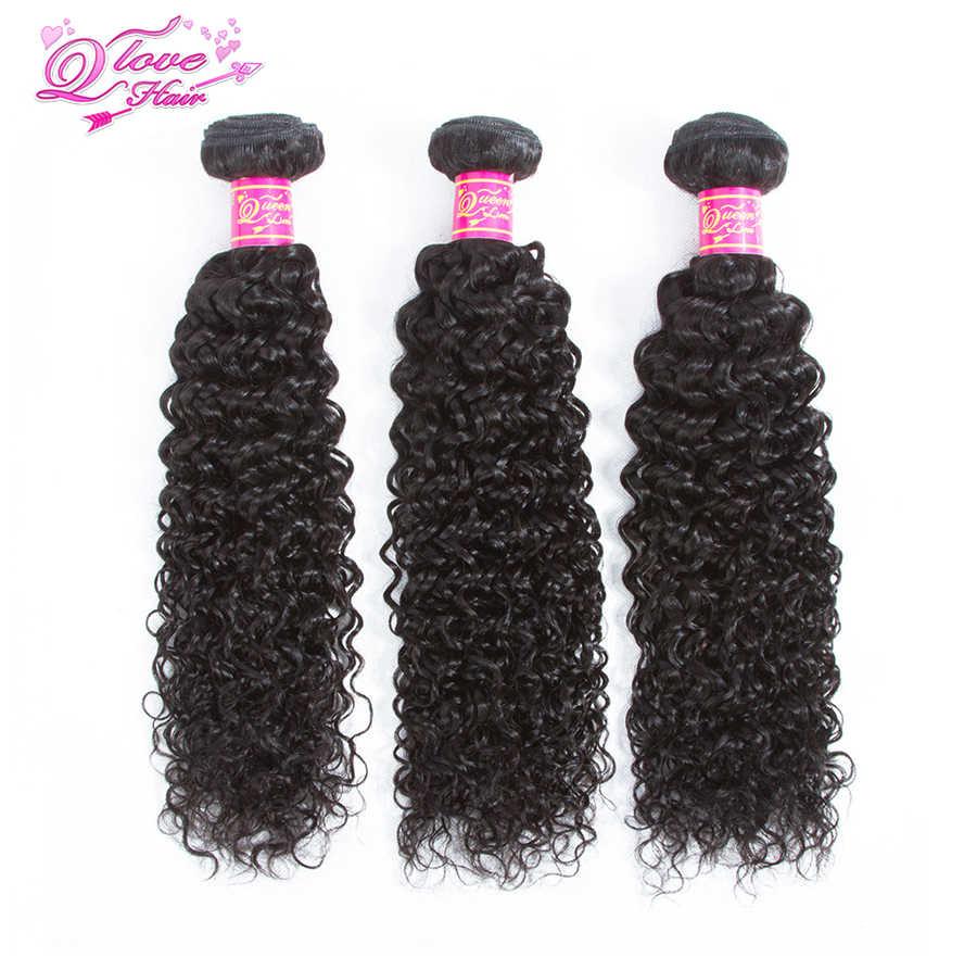 "Koningin Liefde Haar Pre-Gekleurde Maleisische Kinky Curly Weave Human Hair 3 Bundels Remy Natuurlijke Kleur 8-26 ""Hair Extensions"
