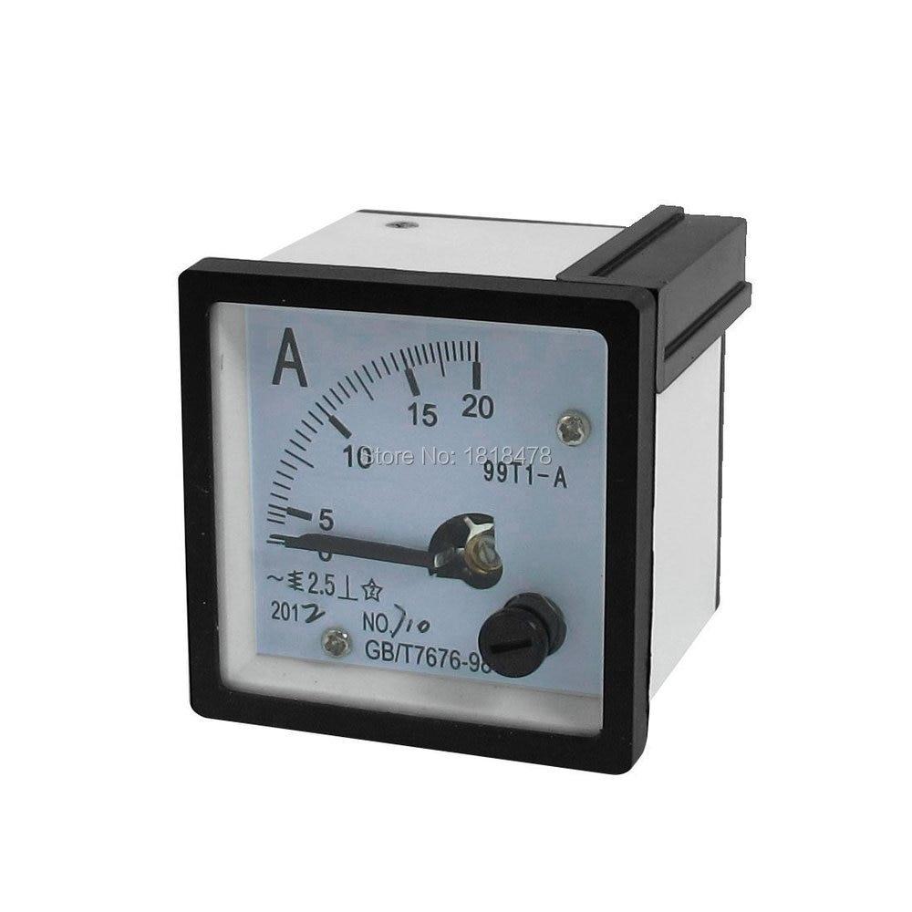 Тестер тока 99T1 AC 0-20A, аналоговый панельный измеритель амперметр, белый, черный, 48*48 мм